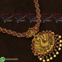 Gold Plated Antique Jewellery Designs Kemp Stones Peacock Red Colour