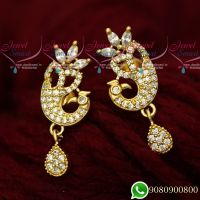 Gold Plated Peacock White Stone Ear Studs South Screw Designs Imitation Jewellery Online