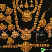 Gold Plated Temple Jewellery Bridal Designs Wedding Set Matte Finish Premium Collections Online