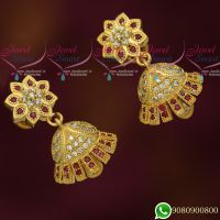 New Design Jhumkas Gold Plated Ruby AD Stones Jewellery Jimikky Screwback Kammal Online