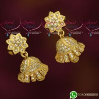 New Design Jhumkas Gold Plated White AD Stones Jewellery Jimikky Screwback Kammal Online