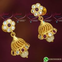 Jhumka Designs Fancy Gold Look Jewellery AD Stones Small Size Collections