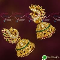 Peacock Jhumka Designs Fancy Gold Look Jewellery AD Stones  Imitation Collections Online