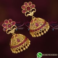 Ruby AD Stones Jhumka Earrings South Screw Lock Gold Plated Jewellery Online