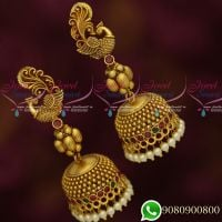 Peacock Design Jhumka Earrings Antique Gold Plated Jewellery Matte Look Collections Online
