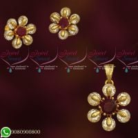 AD Diamond Ruby White Stone Setting Gold Plated Small Pendant Earrings Set Shop Online