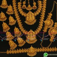 Temple Jewellery Bridal Designs Wedding Set Matte Gold Plated Premium Collections Online