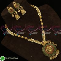 Kemp Stones Antique Temple Jewellery Pearl Mala Peacock Design Shop Online