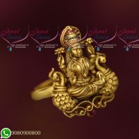 Temple Jewellery Antique Gold Plated Finger Rings Laxmi God Design Collections