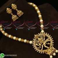 Temple Jewellery Lord Nataraja Design Pendant Pearl Beaded Mala Jhumka