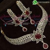 Diamond Jewellery Finish Imitation Necklace Gold Silver Two Tone