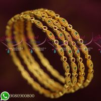 Latest Designs Traditional Bangles 4 Pieces Set AD Stones Imitation Jewellery Collections Online