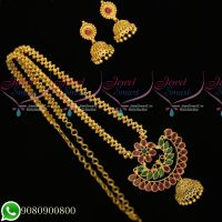 Gold Plated Jewellery Designs Set Ghajiri Chain Pendant Screwback Earrings Latest