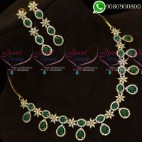 Gold Plated Jewellery Set Emerald Green White Semi Precious Necklace Set
