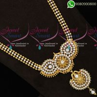 Long Necklace For Silk Sarees Traditional Designs Online