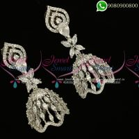 Jhumkas Online Silver Plated Diamond Finish Jewellery