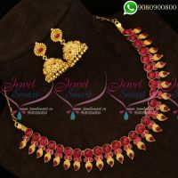 Kemp Red Jewellery Mango Design Traditional Model Imitation