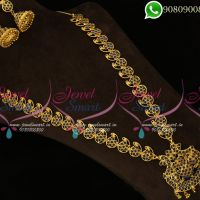 Long Necklace Sapphire Blue Stones Traditional Haram