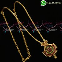 Gold Plated Kodi Chain Ruby Emerald Pendant Daily Wear South Indian Jewellery Designs C19798
