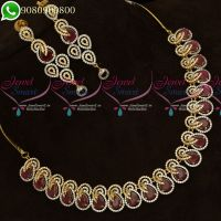 Gold Silver Plated Jewellery Set Ruby Diamond Finish Semi Precious Necklace