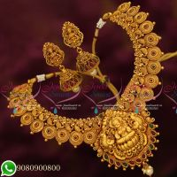 Temple Jewellery Designs Bridal Collections Latest Matte Gold Plated Premium Necklace Set