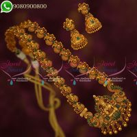 Temple Jewellery Haram Long Necklace Emerald Green Stones Matte Antique Jewellery Designs Online