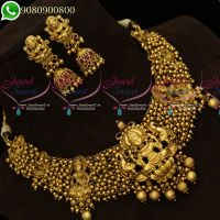 Temple Jewellery Nagas Design Necklace Golden Beads Danglers Traditional Collections