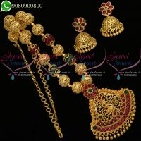 Beaded Jewellery Temple Lakshmi Goddess Design Necklace Set