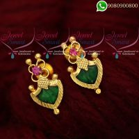 Ear Studs For Women Green Palakka Model Kerala Jewellery