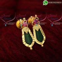 Ear Studs Traditional Kerala Style Green Palakka