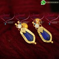 Ear Studs Traditional Kerala Style Blue Palakka