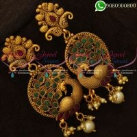 Earrings Big Size Peacock Design Antique Matte Jewellery