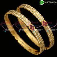 Stone Bangles 2 Line Thick Metal Getti Item Online