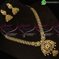 One Gram Gold Plated Short Necklace American Diamond Set