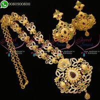 Polki Stones Gold Plated South Indian Necklace Set Online