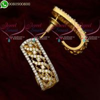 J Type Stone Studded Earrings Latest Imitation Jewellery Designs