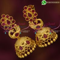 Jhumkas Online Peacock Jewelry Ruby Stones Gold Plated