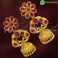 Ruby Jhumkas Online Latest Peacock Design Jewellery Online