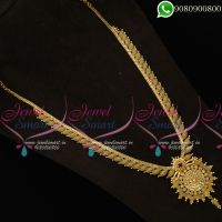 Gold Plated Traditional Long Necklace For Sarees Bridal Jewellery