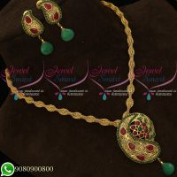 Pendant Set Antique Gold Plated Fancy Twisted Chain Mango Design
