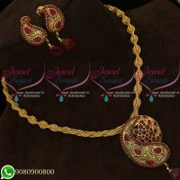 Pendant Set Ruby Antique Gold Plated Twisted Chain Mango Design