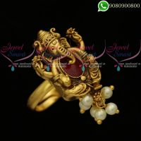 Lord Ganapathy Ganesh Design Adjustable Finger Rings Pearl Drops