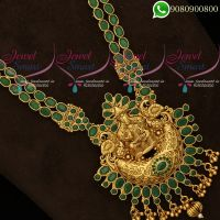 Temple Jewellery 2 Line Green Stone Chain Antique Gold Plated