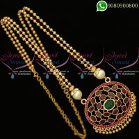 Beads Chain Pendant Gold Plated AD Stones Studded South Indian Jewelry