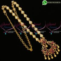 Pearl Chain Pendant Ruby Stones Gold Plated Jewellery Daily Wear