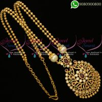 Beads Chain Pendant Hand Setting Gold Plated AD Stones Jewellery