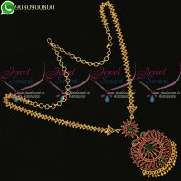 Chain Pendant Set Gold Design Dollar Traditional South Indian Jewellery