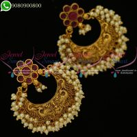 Temple Jewellery Chandbali Earrings Pearl Antique Gold Plated Bridal