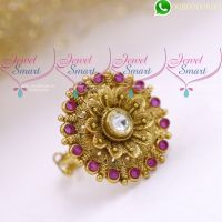 Ruby Kundan Finger Rings Rotating Front Design Antique Gold Plated