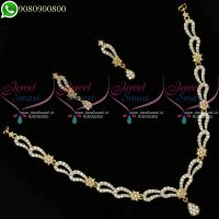 Gold Silver Dual Two Tone Plated Necklace Set Diamond Designs Online